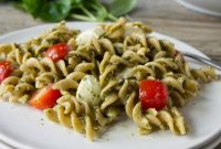 Easy Caprese Pesto Pasta Salad