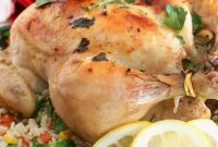 One-Pot Roasted Lemon Chicken on a bed of vegetable rice