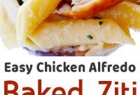 Easy Chicken Alfredo Baked Ziti (+video)